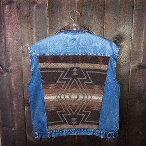 Vintage Denim Vest Kilim Aztec Tribal